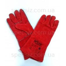 Перчатки спилковые с крагами для сварщика
