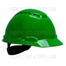 Каска 3М H-700C-GP зеленый, штифтовая застежка, с вентиляцией