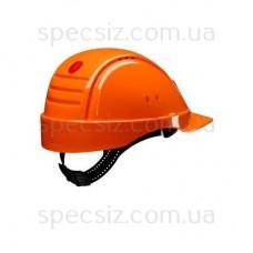 Каска 3М G2000DUV-OR оранжевый с вентиляцией, кожаное оголовье, штифтовая застежка