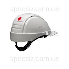 Каска 3М G2001CUV-VI, белая, диэлектрическая 440 В, без вентиляции синтетическое оголовье, штифтовая застежка