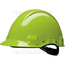 Каска защитная G3000CUV-GB c вентиляцией, цвет неоновый зеленый повышенной видимости