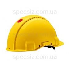 Каска 3М G3001CUV-GU цвет желтый без вентиляции, диэлектрика 440 В, синтетическое оголив`я, штифтовая застежка