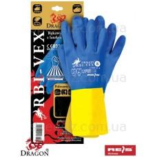 Перчатки химстойкие КЩС желто-голубые RBI-VEX