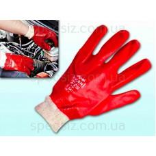 Перчатки маслостойкие красные ПВХ